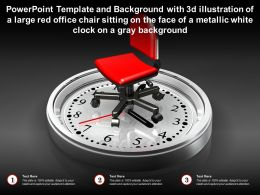 Template With 3d Illustration Of A Large Red Office Chair Sitting On Face Of A Metallic White Clock On A Gray