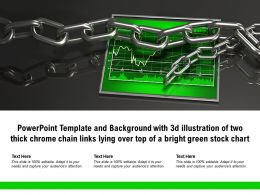 Template With 3d Illustration Of Two Thick Chrome Chain Links Lying Over Top Of A Bright Green Stock Chart