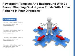 Template With 3d Person Standing On A Jigsaw Puzzle With Arrow Pointing In Four Directions