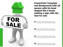 Template With 3d Person With His Head Shaped Like A House Holding A Sign With The Text For Sale