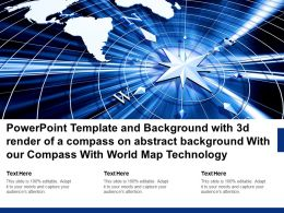 Template With 3d Render Of A Compass On Abstract With Our Compass With World Map Technology