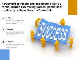 Template With 3d Render Of Men Assembling Success Puzzle Beat Mediocrity With Our Success Teamwork