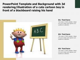 Template With 3d Rendering Illustration Of A Cute Cartoon Boy In Front Of A Blackboard Raising His Hand