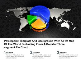 Template With A Flat Map Of The World Protruding From A Colorful Three Segment Pie Chart