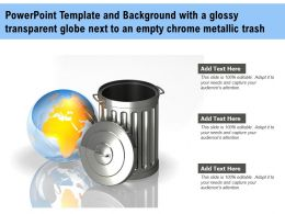 Template With A Glossy Transparent Globe Next To An Empty Chrome Metallic Trash