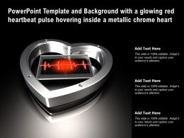 Template With A Glowing Red Heartbeat Pulse Hovering Inside A Metallic Chrome Heart