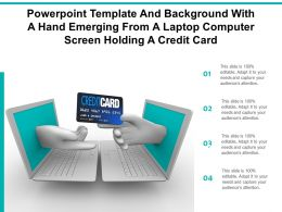 Template With A Hand Emerging From A Laptop Computer Screen Holding A Credit Card