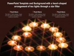 Template With A Heart Shaped Arrangement Of Tea Lights Through A Star Filter Ppt Powerpoint