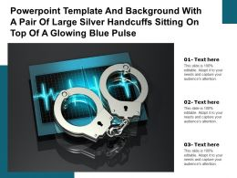 Template With A Pair Of Large Silver Handcuffs Sitting On Top Of A Glowing Blue Pulse