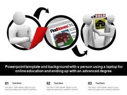 Template With A Person Using A Laptop For Online Education And Ending Up With An Advanced Degree