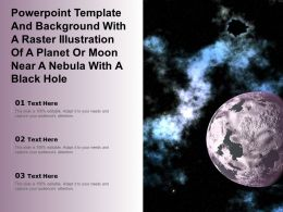 Template With A Raster Illustration Of A Planet Or Moon Near A Nebula With A Black Hole