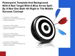 Template With A Red Target With A Blue Arrow Split By A Red One Both Hit Right In Middle Success Concept