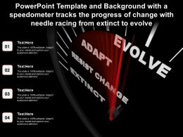 Template With A Speedometer Tracks Progress Of Change With Needle Racing From Extinct To Evolve