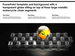 Template With A Transparent Globe Sitting On Top Of Three Large Metallic Motorcycle Chain Segments