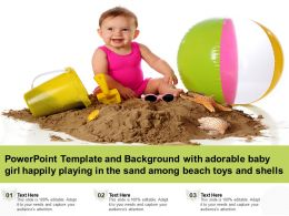 Template With Adorable Baby Girl Happily Playing In The Sand Among Beach Toys And Shells