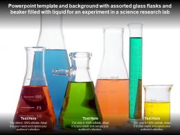 Template With Assorted Glass Flasks Beaker Filled With Liquid For An Experiment In A Science Research Lab