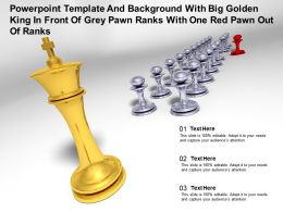 Template With Big Golden King In Front Of Grey Pawn Ranks With One Red Pawn Out Of Ranks
