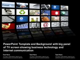 Template With Big Panel Of Tv Screen Showing Business Technology And Internet Communication