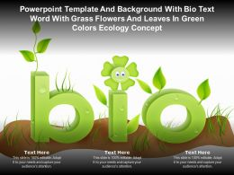Template With Bio Text Word With Grass Flowers And Leaves In Green Colors Ecology Concept