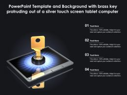 Template With Brass Key Protruding Out Of A Silver Touch Screen Tablet Computer