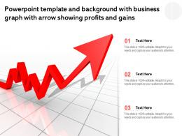 Template With Business Graph With Arrow Showing Profits And Gains Ppt Powerpoint