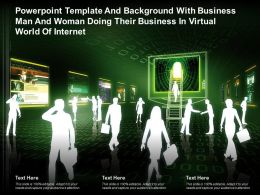 Template With Business Man And Woman Doing Their Business In Virtual World Of Internet