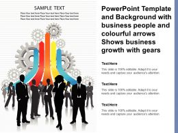 Template With Business People And Colourful Arrows Shows Business Growth With Gears