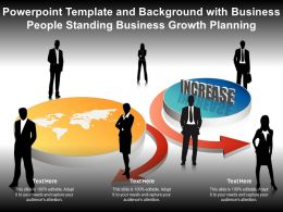 Template With Business People Standing Business Growth Planning Ppt Powerpoint
