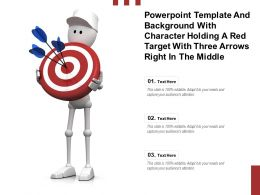 Template With Character Holding A Red Target With Three Arrows Right In The Middle
