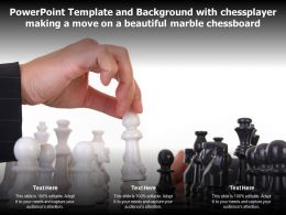 Template With Chess Player Making A Move On A Beautiful Marble Chessboard