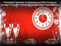 Template With Christmas Grunge Frame With Snowflake Mistletoe Bell Clock Element