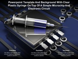 Template With Clear Plastic Syringe On Top Of A Simple Microchip And Electronic Circuit