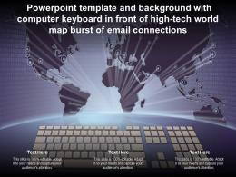 Template With Computer Keyboard In Front Of High Tech World Map Burst Of Email Connections