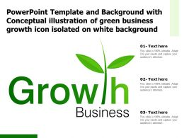 Template With Conceptual Illustration Of Green Business Growth Icon Isolated On White Background