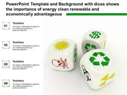 Template With Dices Shows The Importance Of Energy Clean Renewable And Economically Advantageous