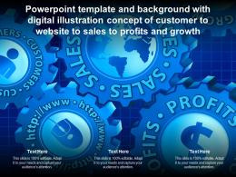 Template With Digital Illustration Concept Of Customer To Website To Sales To Profits And Growth