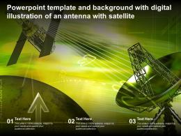 Template With Digital Illustration Of An Antenna With Satellite Ppt Powerpoint