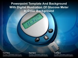 Template With Digital Illustration Of Glucose Meter In Color Background Ppt Powerpoint