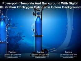Template With Digital Illustration Of Oxygen Cylinder In Colour Background