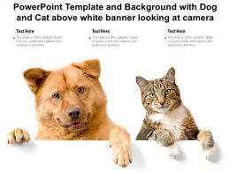 Template With Dog And Cat Above White Banner Looking At Camera Ppt Powerpoint