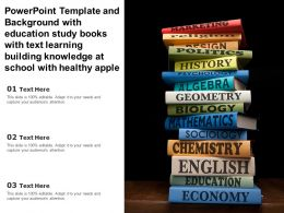 Template With Education Study Books With Text Learning Building Knowledge At School With Healthy Apple