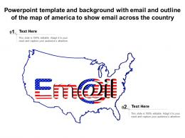 Template With Email And Outline Of The Map Of America To Show Email Across The Country