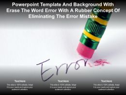 Template With Erase The Word Error With A Rubber Concept Of Eliminating The Error Mistake