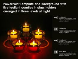Template With Five Tealight Candles In Glass Holders Arranged In Three Levels At Night