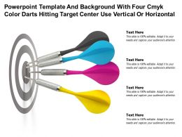 Template With Four Cmyk Color Darts Hitting Target Center Use Vertical Or Horizontal