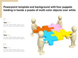 Template With Four Puppets Holding In Hands A Puzzle Of Multi Color Objects Over White