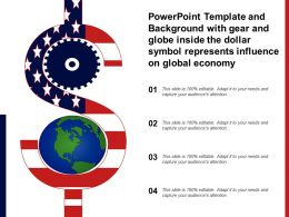 Template With Gear And Globe Inside The Dollar Symbol Represents Influence On Global Economy