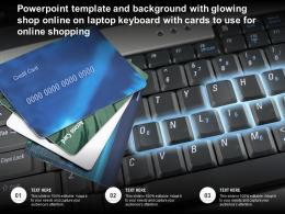 Template With Glowing Shop Online On Laptop Keyboard With Cards To Use For Online Shopping