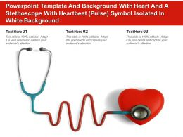 Template With Heart And A Stethoscope With Heartbeat Pulse Symbol Isolated In White Background