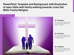 Template With Illustration Of Open Bible With Family Walking Towards Cross Our Bible Family Religion